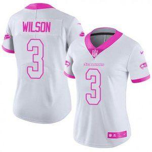Women Seahawks Russell Wilson White  Jersey